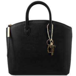 Tuscany Leather TL141261 TL KeyLuck - Saffiano leather tote Black
