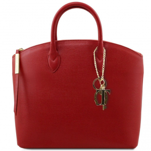 Tuscany Leather TL141261 TL KeyLuck - Borsa shopper in pelle Saffiano Rosso
