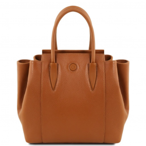 Tuscany Leather TL141727 Tulipan - Leather handbag Cognac