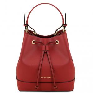 Tuscany Leather TL141436 Minerva - Borsa secchiello da donna in pelle Saffiano Rosso