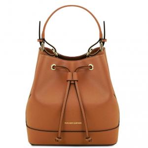 Tuscany Leather TL141436 Minerva - Borsa secchiello da donna in pelle Saffiano Cognac