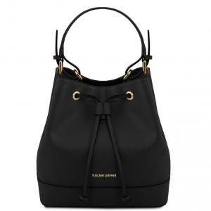 Tuscany Leather TL141436 Minerva - Sac secchiello pour femme en cuir Saffiano Noir