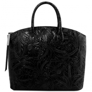 Tuscany Leather TL141670 Gaia - Borsa shopper in pelle stampa floreale Nero
