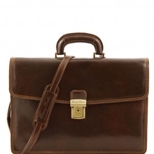 Tuscany Leather TL10050 Amalfi - Leather briefcase 1 compartment Dark Brown