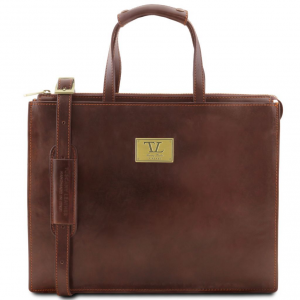 Tuscany Leather TL141343 Palermo - Leather briefcase 3 compartments for woman Brown