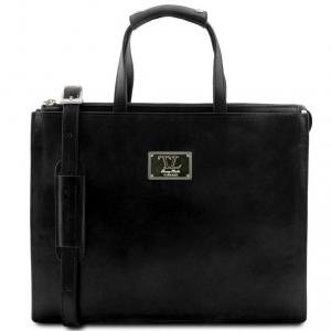Tuscany Leather TL141343 Palermo - Serviette en cuir avec 3 compartiments Noir