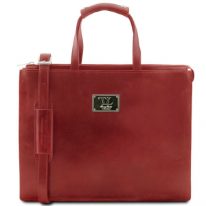 Tuscany Leather TL141343 Palermo - Leather briefcase 3 compartments for woman Red