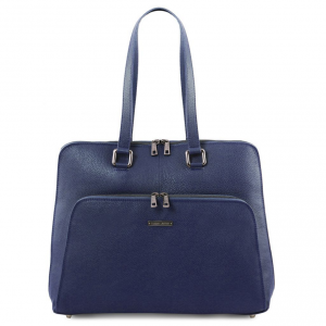 Tuscany Leather TL141630 Lucca - TL SMART business bag in soft leather for women Dark Blue