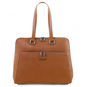 Tuscany Leather TL141630 Lucca - TL SMART business bag in soft leather for women Cognac