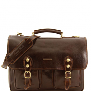 Tuscany Leather TL141134 Modena - Leather briefcase 2 compartments Dark Brown