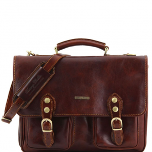 Tuscany Leather TL141134 Modena - Leather briefcase 2 compartments Brown