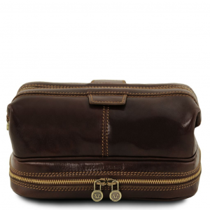 Tuscany Leather TL141717 Patrick - Leather toilet bag Dark Brown