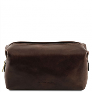Tuscany Leather TL141220 Smarty - Leather toilet bag - Small size Dark Brown