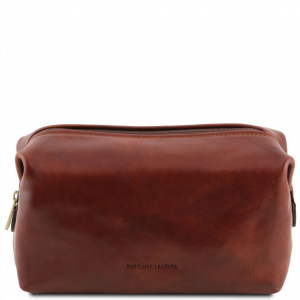 Tuscany Leather TL141219 Smarty - Leather toilet bag - Large size Brown