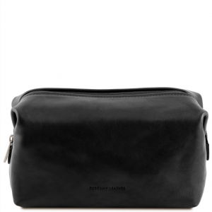 Tuscany Leather TL141219 Smarty - Trousse de toilette en cuir - Grand modèle Noir