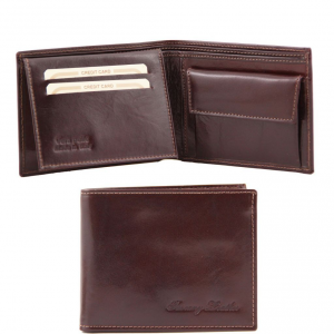 Tuscany Leather TL140763 Exclusive leather 3 fold wallet for men with coin pocket Dark Brown