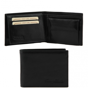 Tuscany Leather TL140763 Exclusive leather 3 fold wallet for men with coin pocket Black