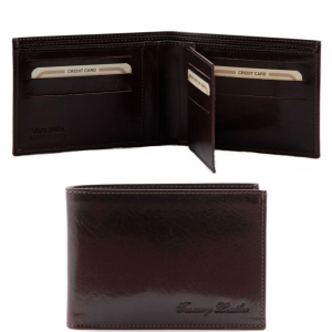 Tuscany Leather TL140817 Exclusive leather 3 fold wallet for men Dark Brown