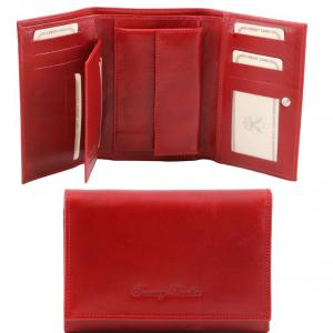 Tuscany Leather TL141314 Elégant portefeuille en cuir pour femme Rouge