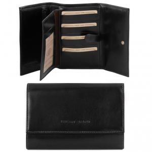 Tuscany Leather TL140796 Elégant portefeuille en cuir pour femme Noir