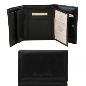 Tuscany Leather TL140790 Elégant portefeuille en cuir pour femme Noir