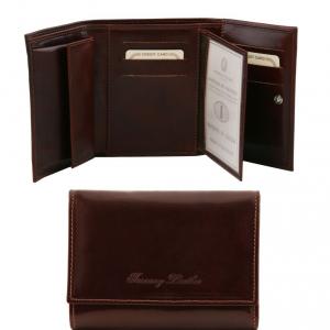 Tuscany Leather TL140790 Elégant portefeuille en cuir pour femme Marron foncé