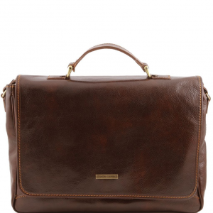 Tuscany Leather TL140891 Padova - Exclusive leather laptop case Dark Brown