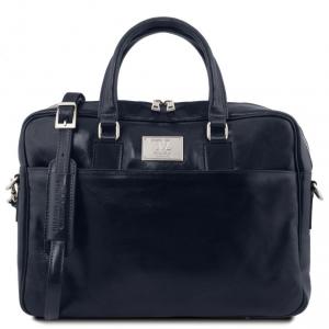 Tuscany Leather TL141241 Urbino - Cartella in pelle porta computer con tasca frontale Blu scuro
