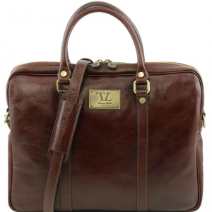 Tuscany Leather TL141283 Prato - Exclusive leather laptop case Brown