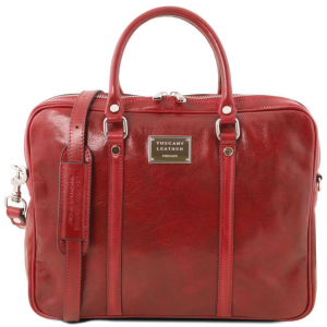 Tuscany Leather TL141283 Prato - Exclusive leather laptop case Red