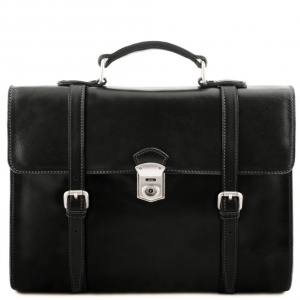 Tuscany Leather TL141558 Viareggio - Exclusive leather laptop case with 3 compartments Black