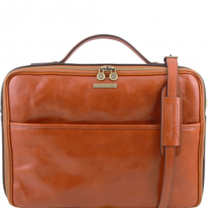 Tuscany Leather TL141240 Vicenza - Leather laptop briefcase with zip closure Honey