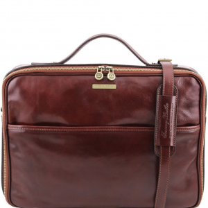 Tuscany Leather TL141240 Vicenza - Leather laptop briefcase with zip closure Brown