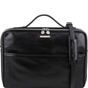 Tuscany Leather TL141240 Vicenza - Leather laptop briefcase with zip closure Black