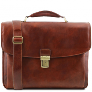 Tuscany Leather TL141448 Alessandria - Leather multi compartment TL SMART laptop briefcase Brown