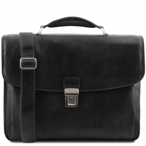 Tuscany Leather TL141448 Alessandria - Leather multi compartment TL SMART laptop briefcase Black