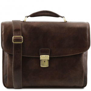 Tuscany Leather TL141448 Alessandria - Leather multi compartment TL SMART laptop briefcase Dark Brown