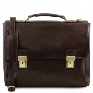 Tuscany Leather TL141662 Trieste - Exclusive leather laptop case with 2 compartments Dark Brown