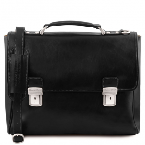 Tuscany Leather TL141662 Trieste - Exclusive leather laptop case with 2 compartments Black