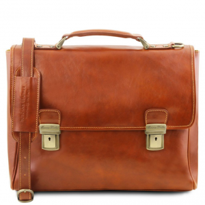 Tuscany Leather TL141662 Trieste - Exclusive leather laptop case with 2 compartments Honey
