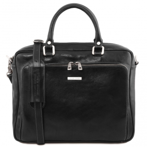 Tuscany Leather TL141660 Pisa - Leather laptop briefcase with front pocket Black