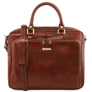 Tuscany Leather TL141660 Pisa - Cartable en cuir porte ordinateur avec poche frontale Marron