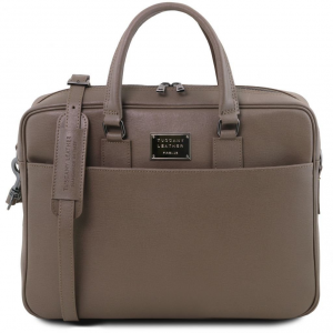Tuscany Leather TL141627 Urbino - Saffiano leather laptop briefcase with front pocket Dark Taupe