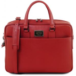 Tuscany Leather TL141627 Urbino - Cartella porta computer in pelle Saffiano con tasca frontale Rosso