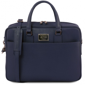 Tuscany Leather TL141627 Urbino - Saffiano leather laptop briefcase with front pocket Dark Blue