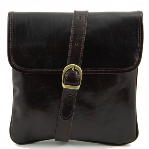 Tuscany Leather TL140987 Joe - Leather Crossbody Bag Dark Brown