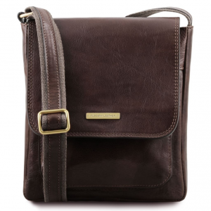 Tuscany Leather TL141407 Jimmy - Leather crossbody bag for men with front pocket Dark Brown