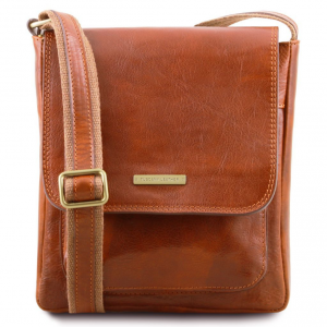 Tuscany Leather TL141407 Jimmy - Borsello da uomo in pelle con tasca frontale Miele