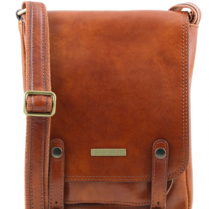 Tuscany Leather TL141406 Roby - Leather crossbody bag for men with front straps Honey