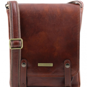 Tuscany Leather TL141406 Roby - Leather crossbody bag for men with front straps Brown
